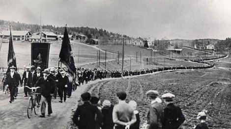 Una marcha en Ådalen, Suecia en 1931.
