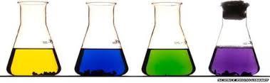 Los colores del vanadio disuelto en agua según los diferentes estados de oxidación.